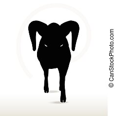 big horn sheep silhouette in down the hill pose - Vector...