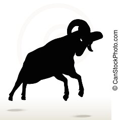 big horn sheep silhouette in attacking pose - Vector Image -...