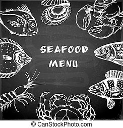 Seafood menu - Vintage hand drawn seafood menu on a...
