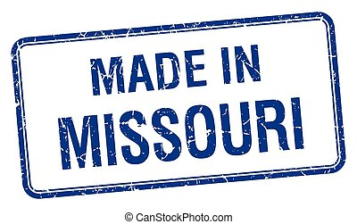 made in Missouri blue square isolated stamp