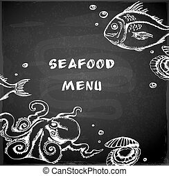 Vintage hand drawn seafood menu