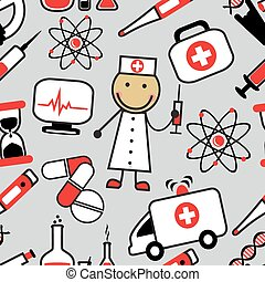 background with medical icons - Cartoon seamless background...