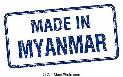 made in Myanmar blue square isolated stamp