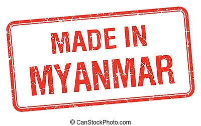 made in Myanmar red square isolated stamp