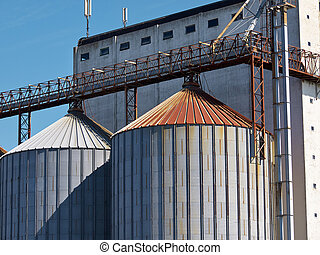 Farm grain silo agriculture industrial production image...