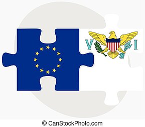 European Union and Virgin Islands US Flags in puzzle...