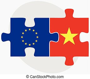 European Union and Vietnam Flags in puzzle isolated on white...