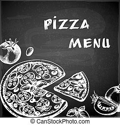 Vintage hand drawn pizza menu