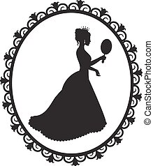princess silhouette in the frame - silhouette of a princess...