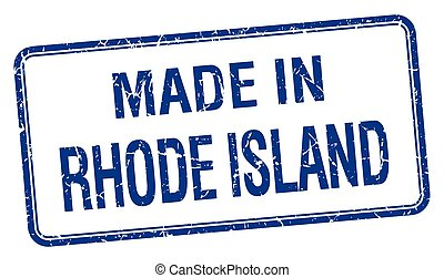 made in Rhode Island blue square isolated stamp