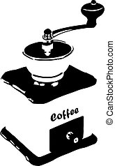 coffee grinder - Vector illustration of an old coffee...