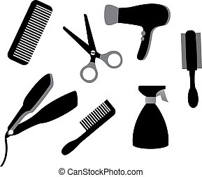 devices for hair care - set of different tools for hair care...