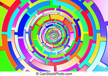 Colored circle - 3d rendering of a divided and colored...