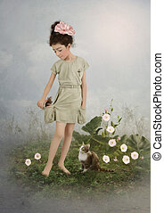 Girl, mouse and cat - The little girl with smile and pink...