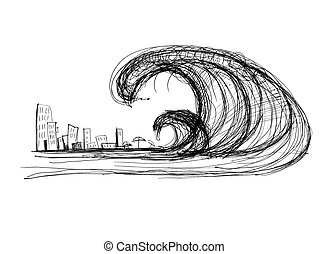 Tsunami - impending tsunami of the city, black and white...