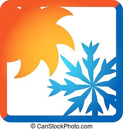 Sun and snowflake for air conditioner, a symbol of business
