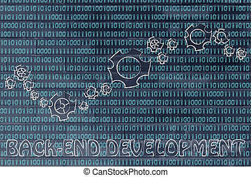 gearwheels on binary code, concept of back-end development -...