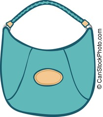 Stylish womans blue handbag or purse - Cartoon illustration...