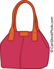 Elegant magenta handbag - Cartoon illustration of a...