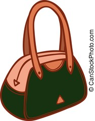 Ladies handbag classic - Cartoon illustration of a stylish...