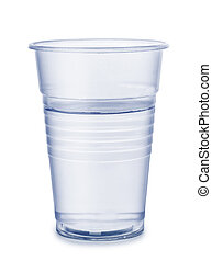 Cup of water - Plastic cup of water isolated on white