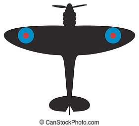 Spitfire Silhouette - A spitfire plane silhouette isolated...