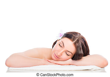 portrait of a woman totally relaxed in the spa