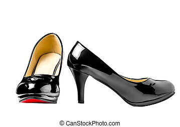 Womens patent leather shoes isolated