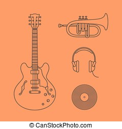 Flat icons of guitar - Musical instruments icons. Vector...