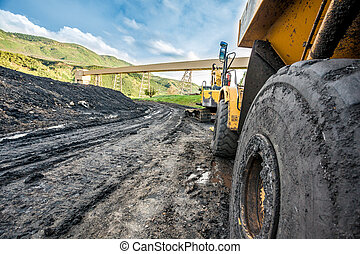 Huge machines used to coal excavation - Close up of huge...