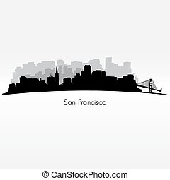 San Francisco silhouette skyline - San Francisco city...