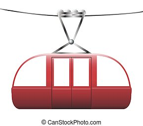 Cable Car - A cable car on a cable on a white background