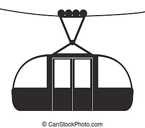 Cable Car Silhouette - A cable car on a cable silhouette...