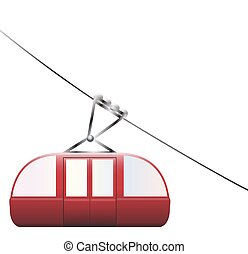 Cable Car Downhill - A cable car going downhill on a white...