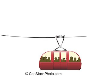 Crowded Cable Car - A crowded cable car on a cable on a...