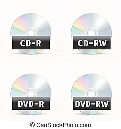 CD-DVD icon - The CD-DVD disc icon set on the white...