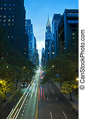 Traffic at night on 42nd Street, New York City - Traffic at...
