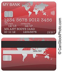 Debit Card Red World Map - Front and back of a red world map...