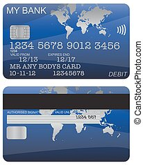 Debit Card Blue World Map - Front and back of a blue world...