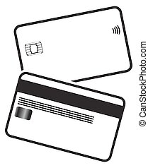 Debit Card Silhouettes - Front and back of a debit card...