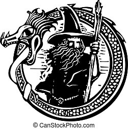 Dragon and Wizard - Woodcut style image of a wizard in a an...