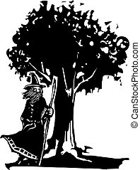 Wizard ad Tree - Woodcut style image of a wizard standing...