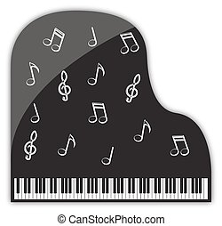 Grand Piano Musical Decorations - A grand piano design with...