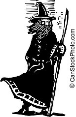 Standing Wizard with Staff - woodcut style image of a wizard...