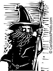 Wizard Bust - Woodcut style image of a magical wizard...