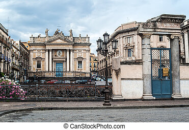 Remains of the Roman amphitheater at the Piazza Stesicoro in Catania