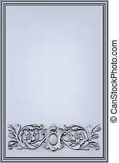 verticall gray background decorated with a bas-relief