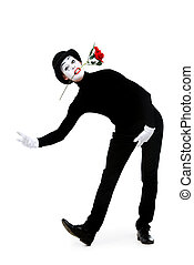 enamored - Full length portrait of a male mime artist with...