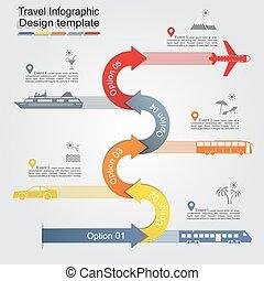 Infographic, informe, plantilla, con, flechas, y, icons.,...