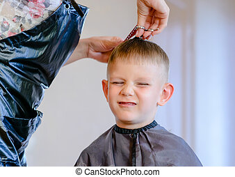 hairdresser trimming a little boys hair with a pair of...